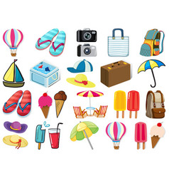 Large set different summer objects on white vector