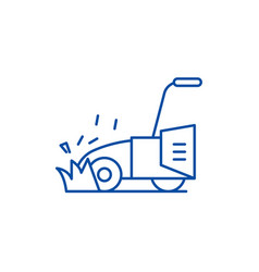 Lawn mower line icon concept lawn mower flat vector