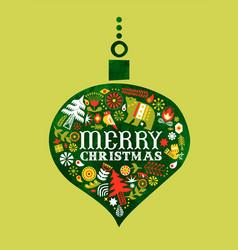 Merry christmas retro watercolor folk bauble card vector