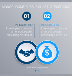 monochrome blue bubbles chart infographics for 2 vector image