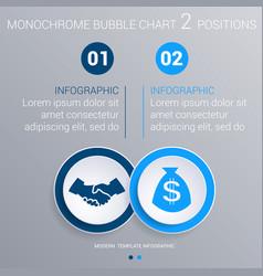 Monochrome blue bubbles chart infographics for 2 vector
