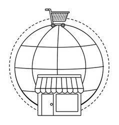 Online store concept in black and white vector