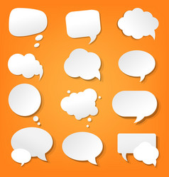 Orange paper speech bubble vector