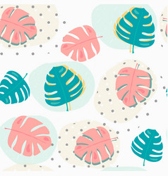 pastel tropical summer leafs pattern seamless vector image