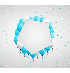 Pentagon badge and blue balloons vector