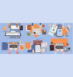People using computers businesspeople hand vector