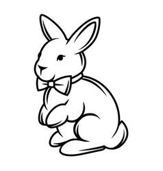 Rabbit with bow tie black vector