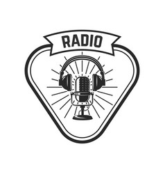 radio emblem template with retro microphone vector image