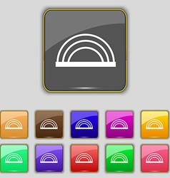 rainbow icon sign Set with eleven colored buttons vector image