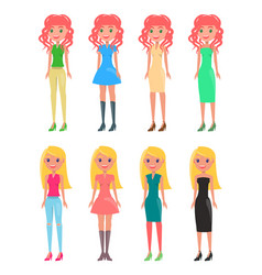 Redhead and blonde girls in modern casual looks vector