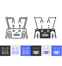 robot transformer simple black line icon vector image