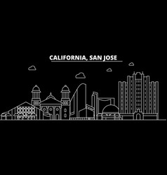 san jose silhouette skyline usa - san jose vector image