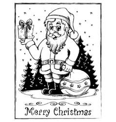 santa claus theme drawing 3 vector image