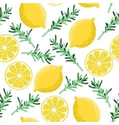 Seamless lemon and rosemary vector