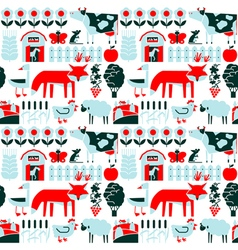 Seamless pattern with farm and animals vector