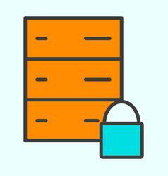 server lock network line icon minimal pictogram vector image