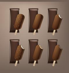 Set bitten popsicle choc-ice lollipop ice cream vector