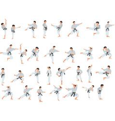 set karate fighter couple exercising karate vector image