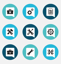 Set of 9 editable tool icons includes symbols vector