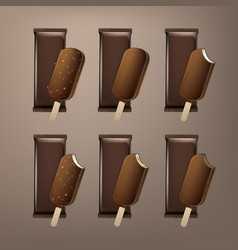 Set of bitten popsicle choc-ice lollipop ice cream vector
