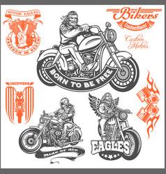 set of vintage motorcycle t-shirt prints emblems vector image