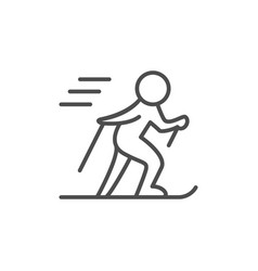 skiing line outline icon and winter sport sign vector image