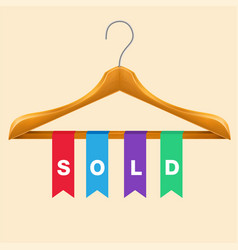 sold clothes hanger sold colorful ribbon backgroun vector image