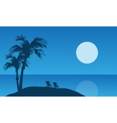 Summer holiday silhouette at the night vector