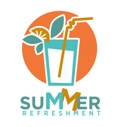 summer refreshing cocktail with straw fruits and vector image