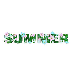 summer word floral design vector image