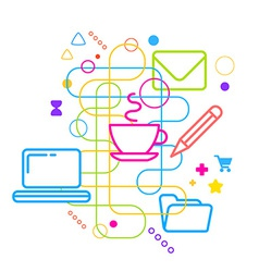 Symbols of daily working at the computer on vector image
