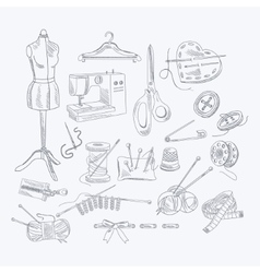 Tailor Shop Hand Drawn Equipment Set vector