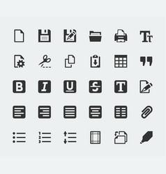 Text editor mini icons set vector