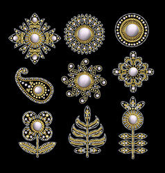 Textile embroidered patches with sequins beads vector
