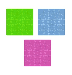 three color puzzle fields with rounded pieces in vector image