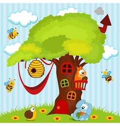Tree house with animals vector