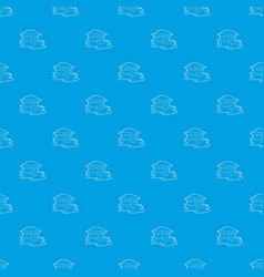 Tropical house pattern seamless blue vector