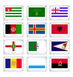 Twelve National Flags on Metal Texture Plate vector image vector image