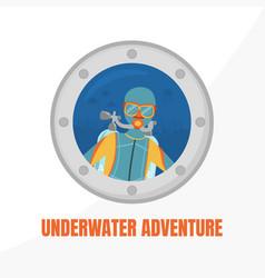underwater adventure banner template water active vector image