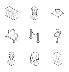 Walk in museum icons set outline style vector image