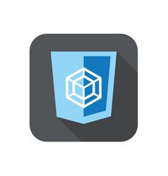 web development blue shield sign - html5 vector image