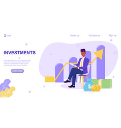 Web page investments template with broker vector