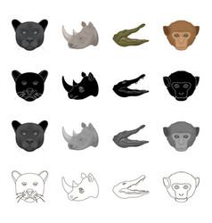 wild animal panther rhinoceros crocodile monkey vector image