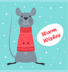 winter card with cute mouse vector image