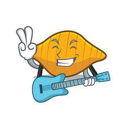 with guitar conchiglie pasta mascot cartoon vector image