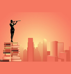 woman using telescope standing on pile books vector image