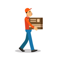 Worker mover man holding and carrying cardboard vector