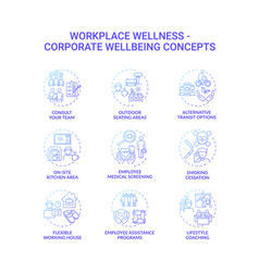 workplace wellness concept icons set vector image