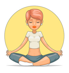 Yoga meditation cute female girl tranquility vector