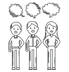 young people with speech bubbles vector image